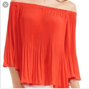 Vince Cameron Pleated Off the Shoulder Top
